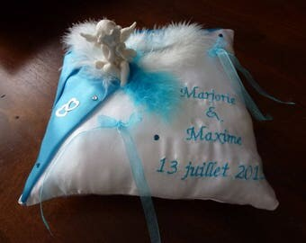 Feathers and turquoise custom wedding ring cushion