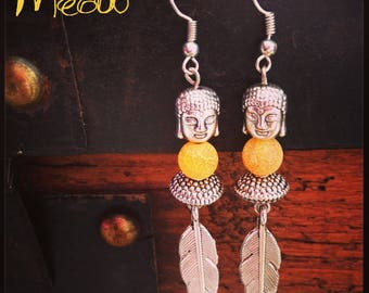 """Earring """"Frosted agate Buddha"""""""