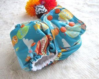 Diaper Cover,Pocket Diaper,All in one, Animal Balloon,Overnight Diaper,Cloth diaper, Cloth Nappy,reusable diaper,bamboo,blue,washable diaper