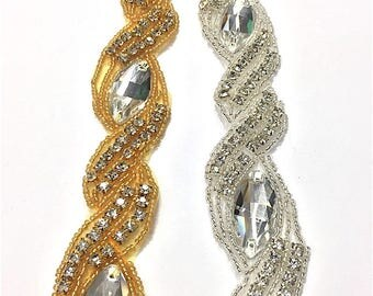 "1 1/4""  Crystal Beaded rhinestone trim Gold-Silver #QRGY6639"