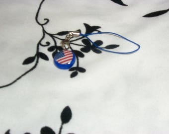 phone charm / strap US flag in fimo