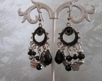 pendants earrings / black and metal charms