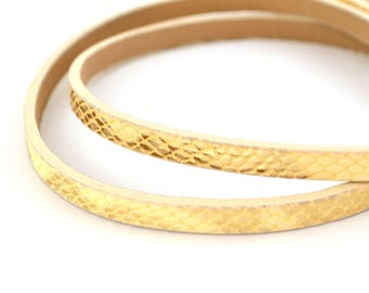 20 cm cord flat yellow pastel pale and gold faux leather reptile skin effect 5mm