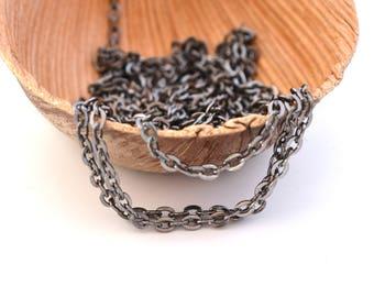 1 M of black metal chain stitch 3x2mm oval