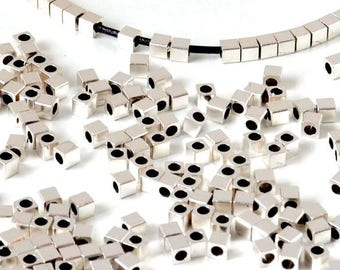 10 mini beads spacer brass loops - CUBE - 1.5 mm - silver - PPMCR117AG0590 round leather