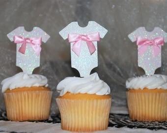 Baby onesie cupcake topper