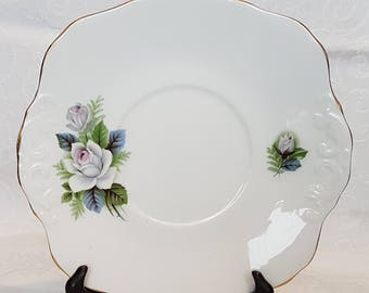 Vintage Royal Sutherland White Rose pattern - cake or sandwich plate.