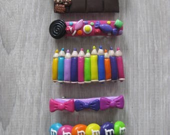 Hair Bobby pins: pencils colors, donuts, candy, bows...