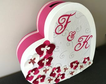 Wedding urn - Orchid theme (pink, fuchsia and white)