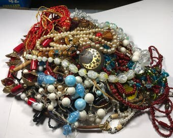 N129, jewelry lot, mixed necklaces, vintage to now, assorted styles