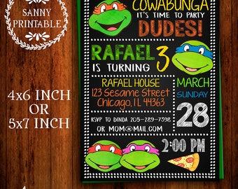Ninja Turtles Invitation, TMNT Invite, Chalkboard, Ninja Turtle Party, Printable, TMNT Party, Free Thank you card