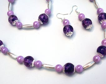 Lavender and Purple Necklace, Bracelet, and Earring set