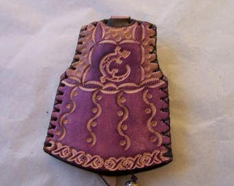 Keychain leather, and plum pattern lizard, original and practical key pouch
