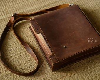 Leather messenger bag, leather wooden bag, personalized messenger bag, creative messenger bag