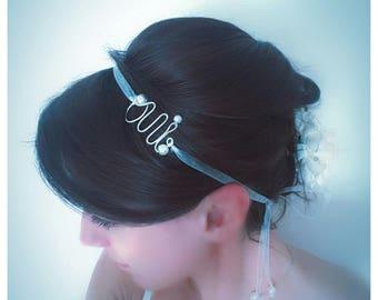 "Headband Mariée ""OUI"" ruban oraganza et perles accessoire coiffure"
