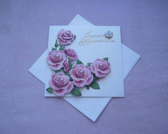 """""""Happy birthday"""" greeting card 3D made hand - gilded - pink glitter - iridescent white wrap with"""