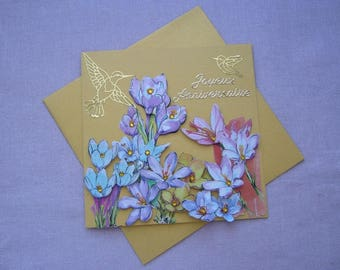 """""""Happy birthday"""" greeting card made 3D hand - mustard background - crocus and birds - matching envelope"""