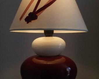 lamp zen stone ceramic cream and Burgundy
