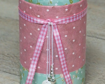 Pencil holder (No. 158) pink & green flowers