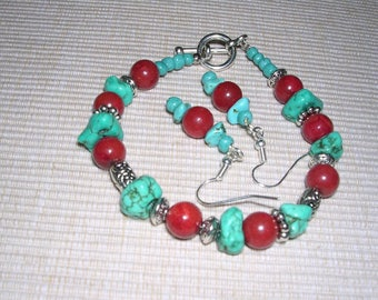 Turquoise Howlite/Red Coral bracelet