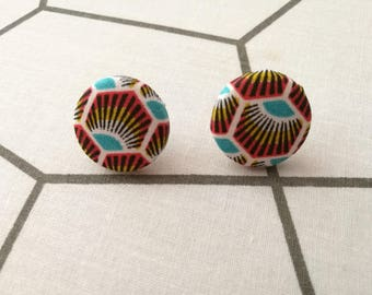 Geometric Peacock feather fabric button earring