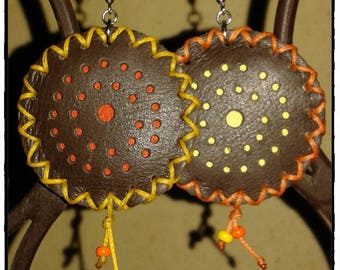 Brown, orange and yellow leather earrings
