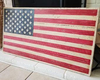 Rustic handmade American Flag.