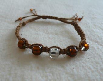 Bracelet, Bamboo, Boho, (Shamballa Bracelet) with  rust coloured beads