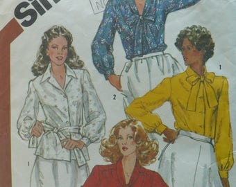 Women's Blouse Pattern in Half Sizes, Vintage Simplicity 5387, Size 22 - 24