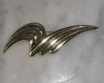 Vintage 1980s Retro Polished Gold Tone Wave Design Large Brooch Scarf Pin Abstract
