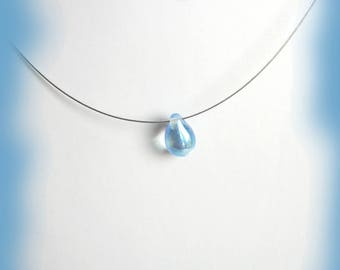 Necklace with a glass drop bead crystal blue