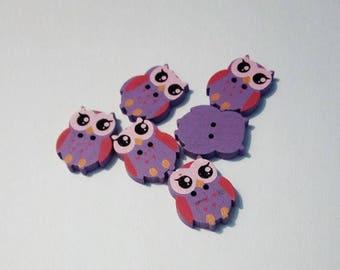 "Lot 6 buttons ""owls"" / ""owls"" wooden, purple"