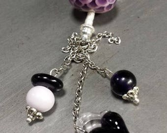 Pendant Necklace in shades of purple glass, with fish scale. Gift idea for woman, Lampwork Glass Beads