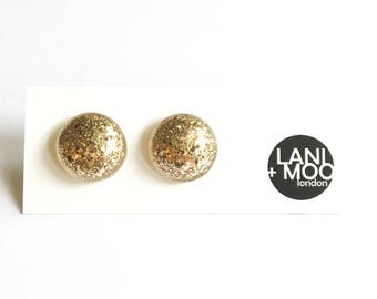 Circle Gold Glitter Resin Stud Statement Earrings!