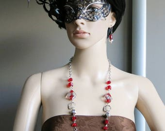 FANETTE: Parure earrings and necklace for the summer red and silver
