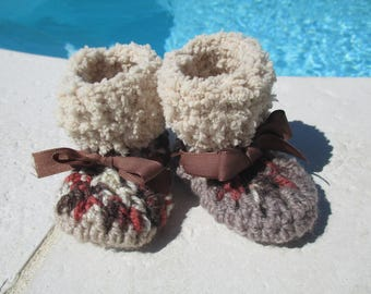 Brown 3-6 month baby booties