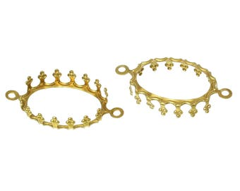 A set of 2 pendants set claw connectors support 13 x 18 mm gold plated cabochon 13 x 18 mm.