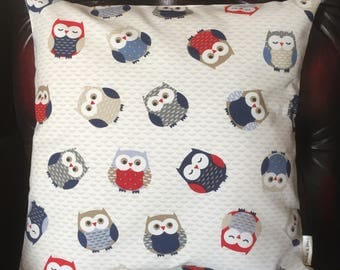 Owls CUSHION COVER [with cream back ]   16X16