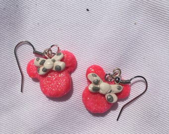 Glitter Pink Minnie Mouse Earrings