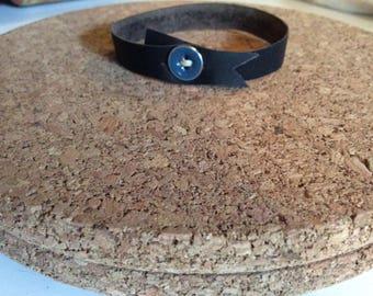 Off the Cuff: Black Leather buttoned Cuff Bracelet