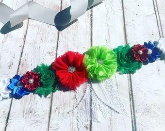 Christmas Sash/Maternity Sash/Green Red Sash/Flower Girl Sash/Christmas Photo Prop/Keepsake/Bridal