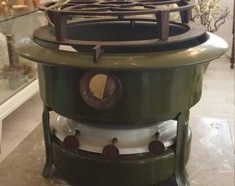 Vintage Dutch Petroleum Stove Enamel set Green Enamel Kerosene Burner Stove, Three burners,  Model, Early 1900s