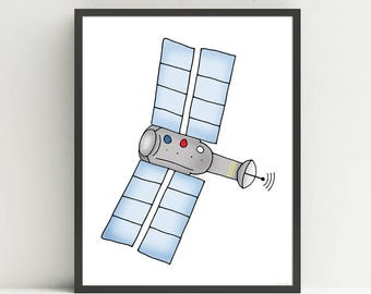 Space Satellite, children's nursery art print, kids outer space bedroom decor