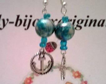"""Navy"" anchor and beads earrings"