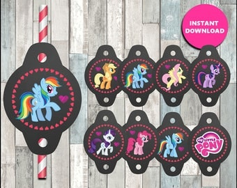80%OFF Printable My Little Pony Straw Tags instant download, My Little Pony party Straw Tags, Printable My Little Pony Straw Toppers
