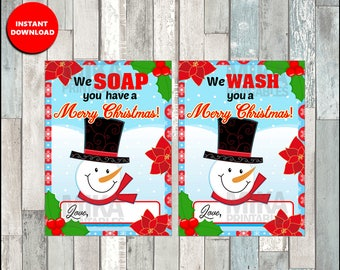Printable Hand Soap Gift Tags - We SOAP You Have A Merry Christmas! & We WASH You Merry Christmas! - Instant Download