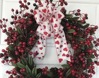 Valentines Cranberry and Pinecone Wreath