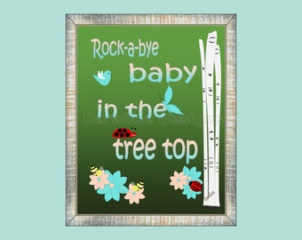 Rock a Bye Baby Woodland Rhyme Wall Art Decor for Kids Room or Baby Nursery,  Print Only (WRock01)