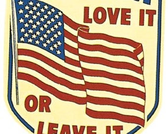 Vintage Style America   Love It Or Leave It   Patriotic  Travel Decal sticker