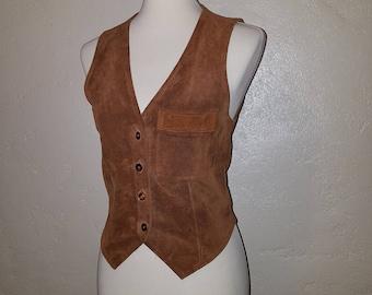 Vintage 70s 80s Brown Leather Suede Vest ~ Indie BoHo Peter Pan BeATkNicK ~ Medium